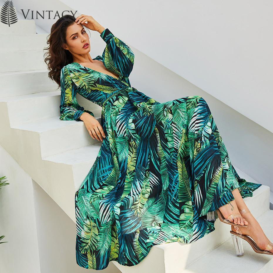Vintacy Long Sleeve Dress Green Tropical Beach Vintage Maxi ...