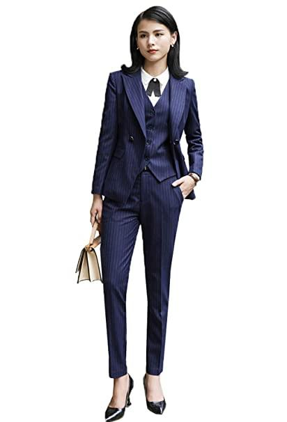 Women's Slim Fit Stripe Suits 3-Piece Blazer Pants & Vest Jacket ...